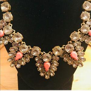 J. Crew crystal stone triangle statement necklace